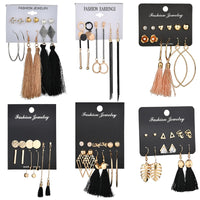 MissCyCy Bohemia Leaf Heart Stud Earring Set 6 Design Long Tassel Earrings For Women Fashion Jewelry Christmas gifts