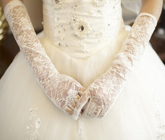 MissRDress White Lace Bridal Gloves Elbow Length Full Finger Wedding