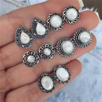 Modyle 6 Pairs/set  Women Earrings Set Brincos Jewelry Bohemian Green Stone Stud Earrings for Women