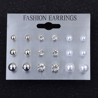 Modyle 9 Pairs/Set Mix Design Square Rhinestone Stud Earrings For Women AAA Cubic Zirconia Earrings Fashion Jewelry