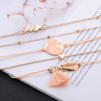 Modyle Bohemia Map Leaves Heart Shell Tassel Bracelet Set Gold Color Multi-layer Women Jewelry