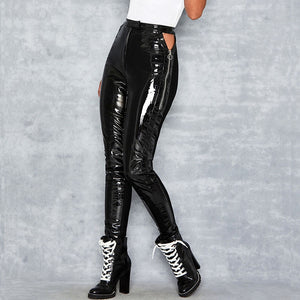 Most fashion hollow cut design leather motorcycle Pants high waist elasitc glossy color leather pants