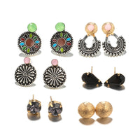 Multi Designs 6paris/card Vintage Bohemian Women`s Stud Earrings Pack