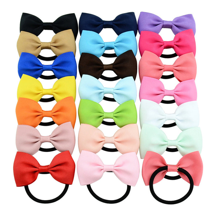 Multicolor Bowknot Elastic Rubber Rope Women Hairband Solid Handmade