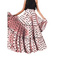 Multicolors 2019 Summer Skirts Women Fashion High Waist Polka Dot Printed Skirt Loose Ruffled Pleated SkirtMaxi Long Skirts  25