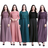 Muslim Women Long Sleeve Hijab Dress Maxi Abaya Jalabiya Islamic Women Fake Two Piece Dress Clothing Robe Kaftan Moroccan CN-094