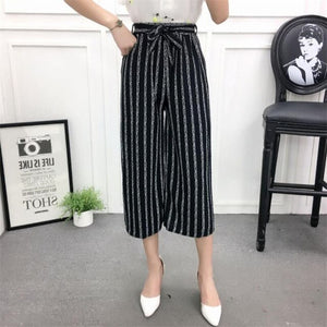 NDUCJSI Loose Pants Elegant Ladies Trousers Printing Stripe Summer Wide Leg Pants Women High Waist Dot Plaid Striped Harem Pant