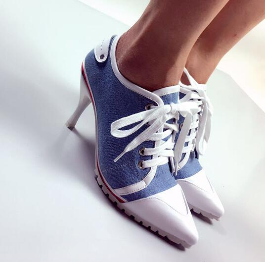 NEW Europe 2018 High Quality Autumn Denim Women Shoes Peep Toe Stiletto High Heels 8.5CM Casual Ladies Rubber Sole Heels Shoes