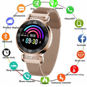 NEW Fashion Lady H2 Smart Watch 3D Rhinestone Glass Heart Rate Blood Pressure