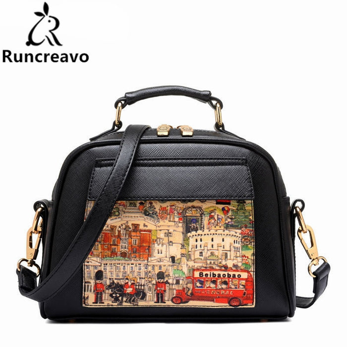 NEW Oil Picture Pattern Women Bag Fashion PU Leather Women Leather Handbag Casual Women Shoulder Bag Fashion Female High Quality