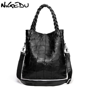 NIGEDU Brand Genuine leather women handbag lambskin Women's messenger Bags real sheepskin big bag patchwork Shoulder bag bolsas