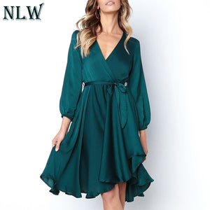 NLW Asymmetrical Split Satin Dress Elegant Midi Solid Dress Women 2019 Autumn Sash V Neck Long Sleeve Sexy Dress Vestidos