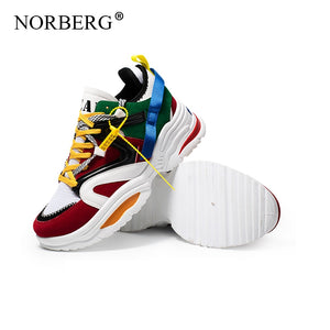 NORBERG 2019 New  Woman Running Shoes  5CM Heel Fashion Sneakers Women Height Platform Breathable Walking girls Vulcanized shoes