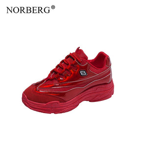 NORBERG2019 summer new sports shoes women comfortable breathable mesh casual shoes women shoes red casual shoes
