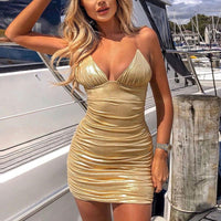 Nadafair Backless Spaghetti Strap Bodycon Mini Dress Women V Neck Ruched Club Party Sexy Dresses Summer Bandage