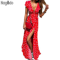Nagodo Summer Dress Women 2019 Vintage Polk Dot Dresses Sexy V neck Short Sleeve Long Maxi Dress Bow Slim Beach Dress Vestido