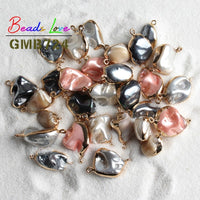 Natural Shaped Irregular Gold Rim Shell Charms Pendant for Jewelry Making Diy Bracelet Necklace Accessories 6 Color Pick 1 PCS