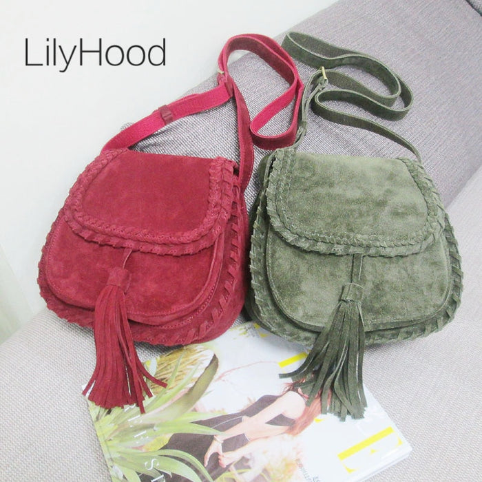 Natural Suede Leather Saddle Bag Women Genuine Leather Casual Messenger Bag Female Leisure Natural Leather Fringe Shoulder Bag