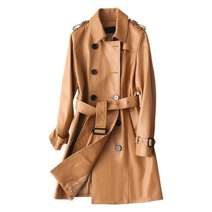 Natural sheepskin leather jacket women turn down collar adjustable sashes slim
