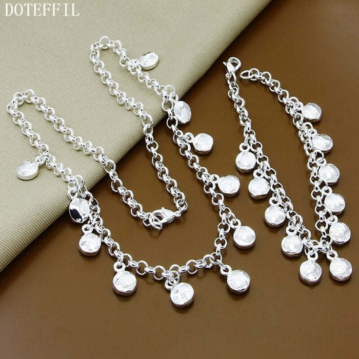 Necklaces Bracelet Jewelry Sets 925 Sterling Silver Jewelry For Women Necklaces Round Pendants Bracelet 2 Piece Sets