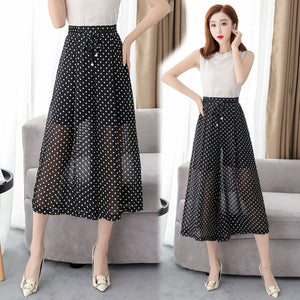 New 2019 Summer Chiffon Dot Wide Leg Pants Korean Brief Loose Fashion Pantalones Mujer Casual Elegant High Waist Calf-Length Pa