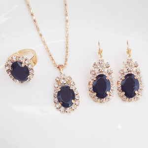 New 6 colors 3 piece set women's luxury jewelry set fashion gold necklace blue crystal pendant ring bride wedding jewelry gift