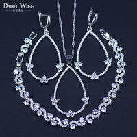 New Arrival 3 Piece 925 Sterling Silver Big Pear Shape Cubic Zircon Tennis Necklace/Earrings/Bracelets Jewelry Set For Women
