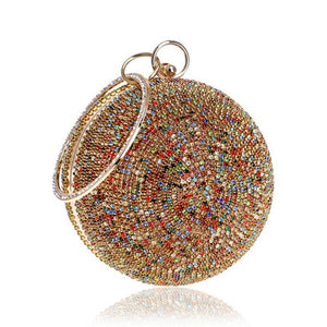 New Arrival Women Evening Clutch Bags Full Crystal Diamonds Round Shaped Clutches Lady Handbags Wedding Purse Chain Shoulder Bag