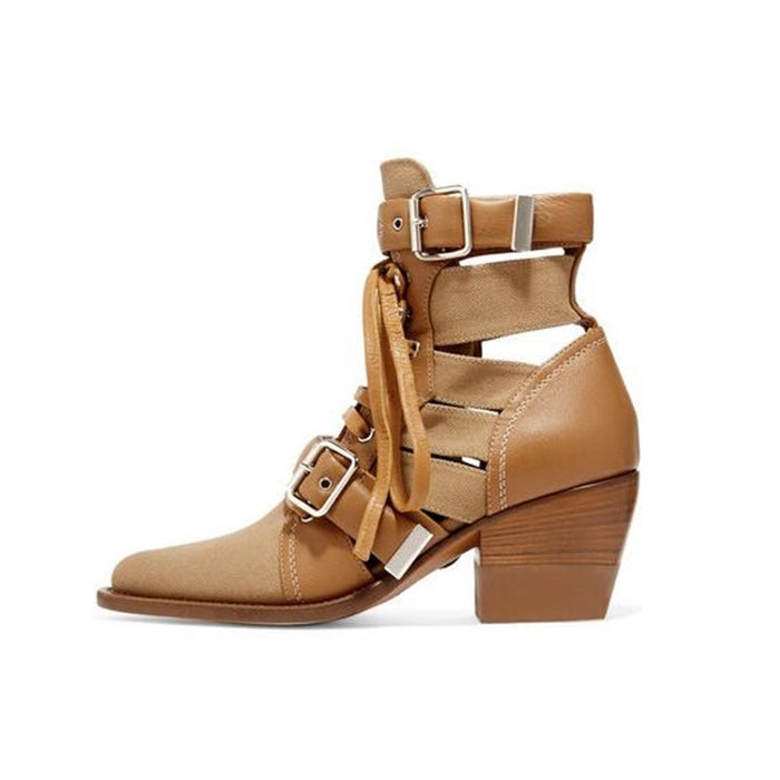 New Arrivals Buckle Strap Ankle Boots Woman Pointed Toe Square Heel