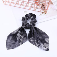 New Autumn Women Hair Ring Print Bowknot Streamers Scrunchies Ponytail