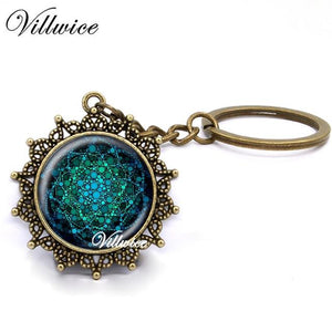 New Blue Flower Of Life Key Ring Art Glass Pendant Mandala Key Chain Sacred Geometry Keychain handmade Jewelry For Women Gifts