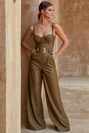New Celebrity High Quality Slip Army Green Leather Loose Jumpsuit Evening Party Jumpsuit