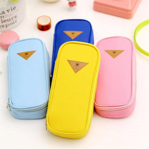 New Fashion Candy Color Creative Multifunction Pencil Case Canvas Pen Bags Stationery Kids Party Gift Woman Make Up Cosmetic Bag