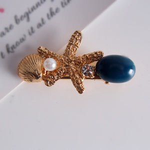 New Fashion Imitation Pearl Barrettes Starfish Hair Grip Shell Hairpin
