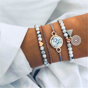 New Fashion Shell Mulit-layer Bracelet Bnagles Set For Women 2019 Trendy Geometric Summer Jewelry Birthday Party Gifts