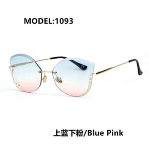 New Fashion Sunglasses S1093 rimless with acrylic diamonds decoration trendy gradient colorful UV400 sunglasses for women