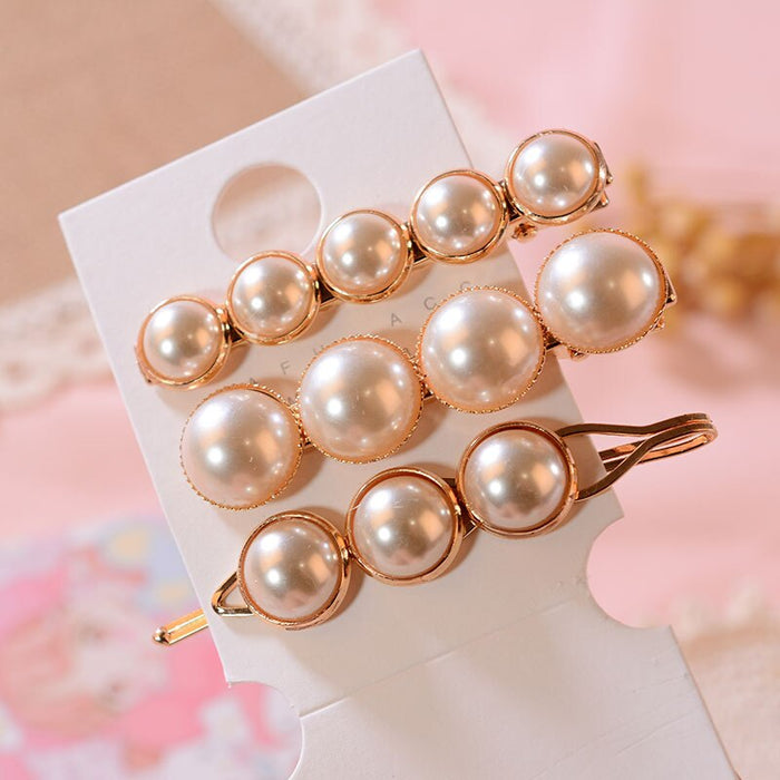 New Fashion Woman Elegant Geometric Pearl Hairpins Hair Clips Alloy Barrettes