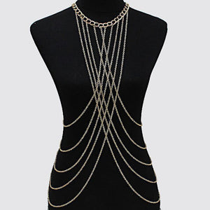 New Full Bodychains Women Accessories Fashion Bodychain Necklaces 2017 Alloy Sexy Statement Body Jewelry Duftgold