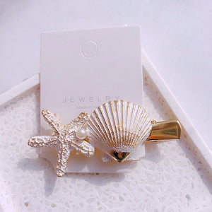 New Hair Clip Fashion Shell Imitation Pearl Trendy Hairpin Girl Barrettes