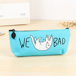 New Kawaii Cute We Cat Bad Canvas Pen Pencil Case Organizer Pencilcase Pouch School Supply Stationery Woman Cosmetics Makeup Bag