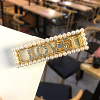 New Korean Pearls Hair Clip Letter Hair Clips for Women Girls Statement