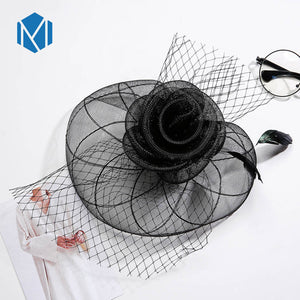 New Large Women Bride Feather Fascinator Hairpins Cap Wedding Party Hair Clip French Mesh Veil hat Hair Ornaments Accessories