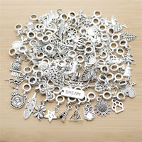 New Mix 50pcs Vintage Silver Charms European Bead Charm fit for pandora style Bracelets Necklace DIY Metal Jewelry Making