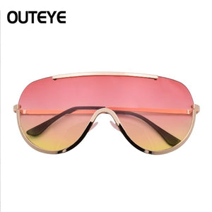 New Oversized Shield Sunglasses Big Frame Alloy One Piece Sexy Cool Sun Glasses Women Gold Clear Eyewear Gradient Shades