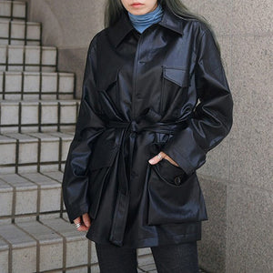 New Pocket Single Buckle Long Sleeve Slim Waist Belts PU Leather Jacket Clothing 2018 Autumn Winter Coat