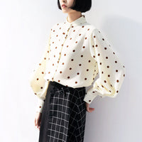 New Polka Dot Shirt Women Autumn 2019 Chic Vintage Style Stand Collar Lantern Sleeve Loose Chiffon Shirt Tops