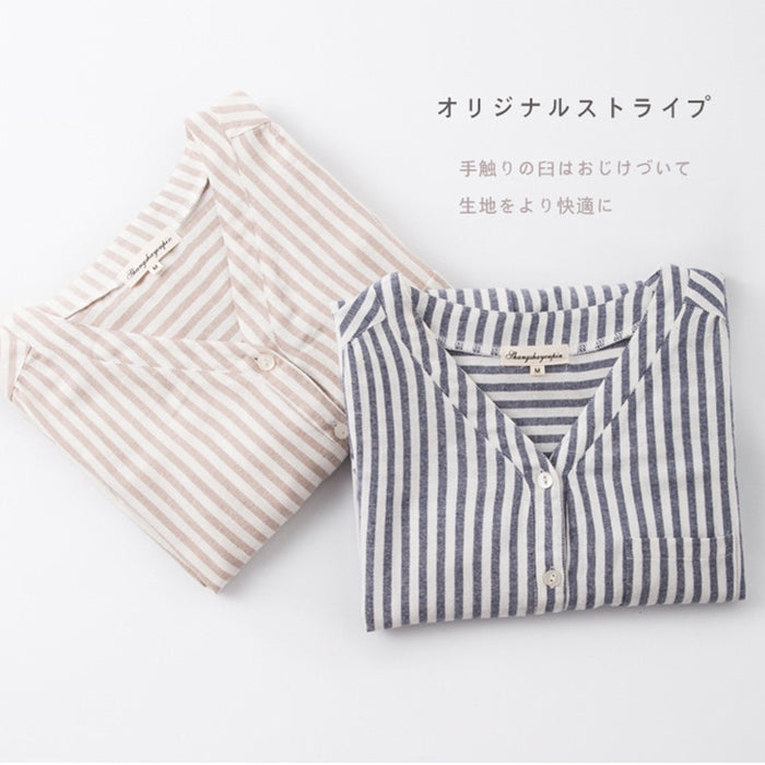 New Products Shirts 100% Cotton Women Pajamas Long Sleeved Sleep Tops Striped V-Neck Sleeping Wear Sexy Nightgown Sleepshirt