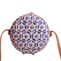 New Round Straw Beach Bag Circle Rattan Bag Women Handbag Colorful Flower Pattern Female Message Shoulder Bag