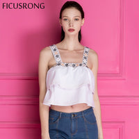 Embroidered Linen Vest Cropped Feminino Women's Tanks Top Female