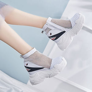 New Shoes Mesh Harajuku Sandals Wedge Flatform Summer High Heel Ankle Sneakers Cut Out Hidden White Platform Boots Muffin Women